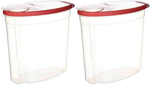 Rubbermaid 714270014505 Cereal/Snack Storage, 1.5 Gal (Pack of 2 Containers), 1.5 Gallon, Red