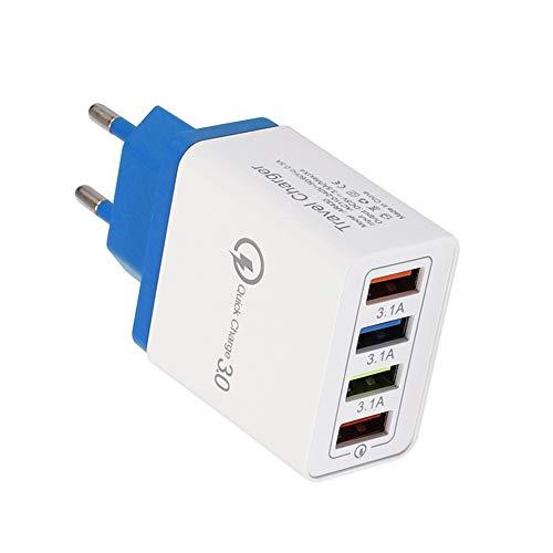 Cargador De Pared De Viaje Adaptador De Corriente Enchufe De La UE 4 Puertos USB QC3.0 Carga Rápida Azul oscuroNone * Enchufe de la UE