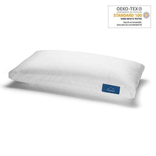 Genius eazzzy Kopfkissen 40 x 80 cm - perfekt für den ruhigen Schlaf aus Milchfaser Baby- und Allergikergeeignet stützend Oeko-TEX Daunenkissen Nackenstützkissen Schlafkissen