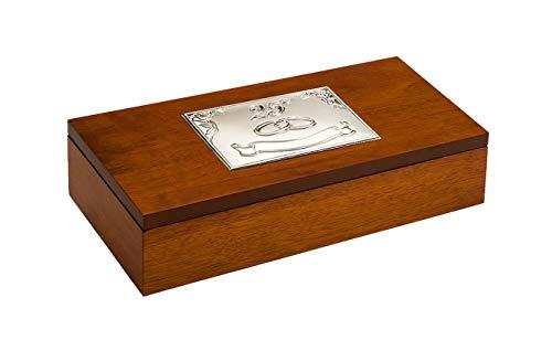 DOCOLASTRA Joyero con grabación incluida, con Emblema sustituible de Boda, ó Bodas de Plata ó Bodas de Oro.