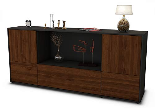 Stil.Zeit Sideboard Elvezia/Korpus anthrazit matt/Front Holz-Design Walnuss (180x79x35cm) Push-to-Open Technik