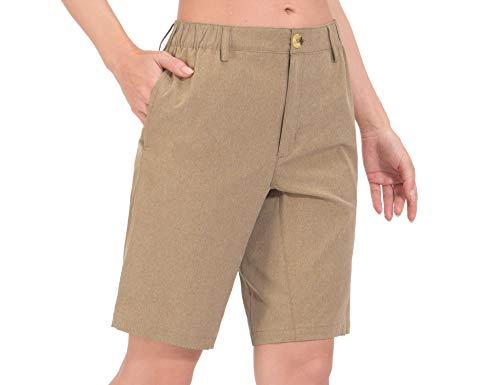 Little Donkey Andy Women's 10 Inch Bermuda Lightweight Quick Dry Shorts Stretch Golf Hiking Travel Khaki Heather L