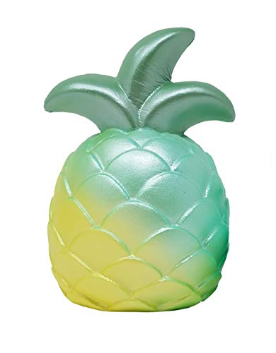 ibloom Cutie Pineapple Fruits Slow Rising Squishy Toy (Miracle Green, 5 Inch) [Kawaii Squishies for Birthday Gift Boxes, Party Favors, Stress Balls, Pretend Play for Kids, Boys, Girls, Adults]