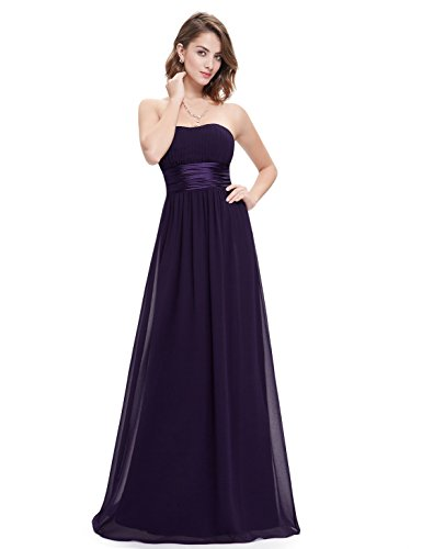 Ever-Pretty Womens Ruched Bust Empire Waist Long Simple Prom Dress 10 Saphire Blue