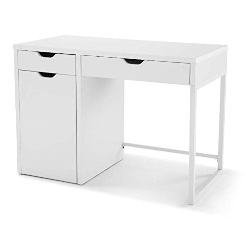 Mainstays White Perkins Desk with Metal Frame with Storage for File Cabinet