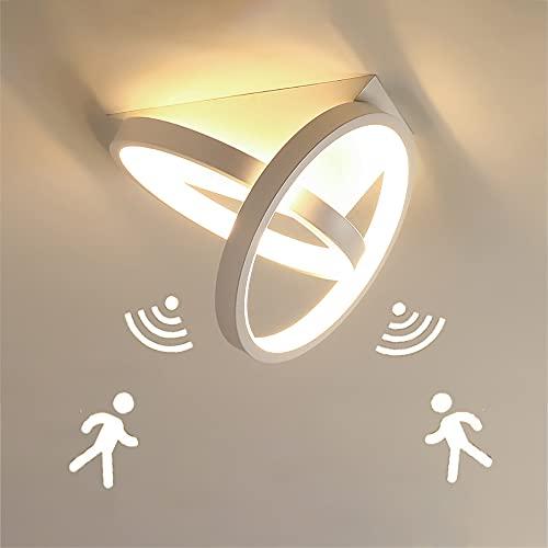 26W Plafón LED Redondo moderno pasillo Lámpara de techo con Detector de Movimiento y Sensor Crepuscular blanco luz de techo para pasillo baño sótano garaje escaleras balcones, Blanco cálido 3000K