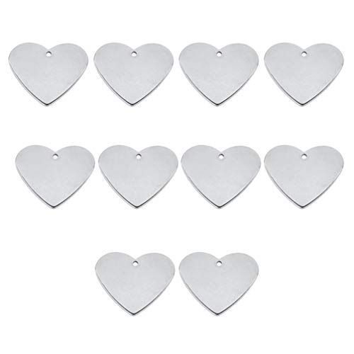 Artibetter 10 Stks Stempelen Blanco Metalen Hart Tag Stempelen Tag Met Gat Voor Diy Sieraden Maken Sleutelhanger Armband Ketting Kunstnijverheid Projecten Ornamenten