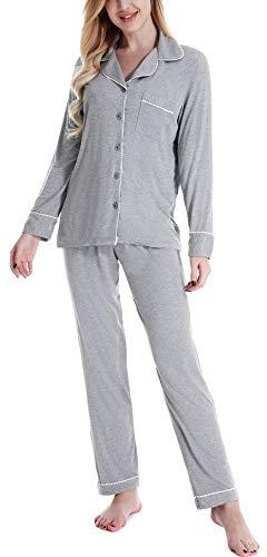 NORA TWIPS Damen Nachtwäsche, Damen Nachthemd, Schlafanzug für Damen, Damen Pyjama Set mit Langarmshirt und Lange Hose Für Frauen(MEHRWEG), Grau, M
