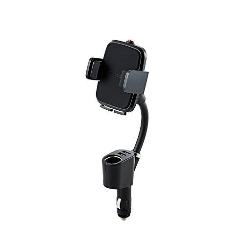 エレコム 車載ホルダー スマホスタンド シガーソケットタイプ 幅4.5cm~9cmまで対応 USBポート×2個付 4.8A ブラック P-CARS04BK