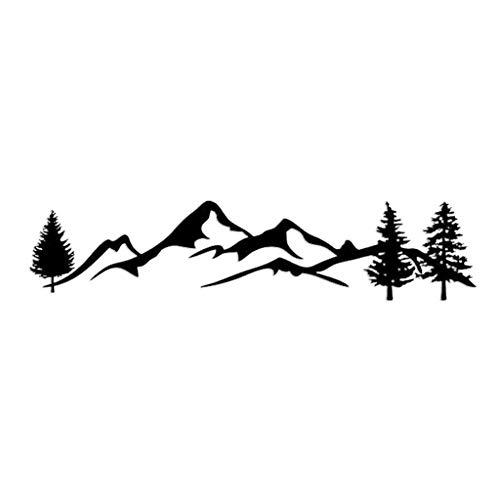 WuLi77 1 autocollant pour voiture, 100 cm, noir et blanc, motif arbre de montagne, pour SUV, camping-car, tout-terrain.