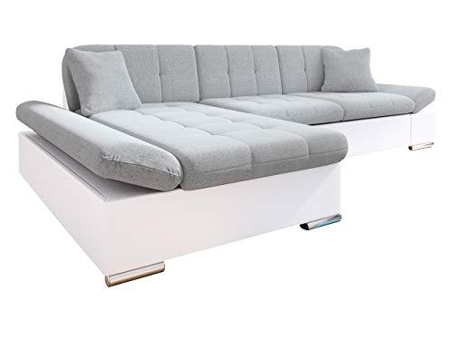 Mirjan24 Ecksofa Malwi mit Regulierbare Armlehnen Design Eckcouch mit Schlaffunktion und Bettkasten, L-Form Sofa vom Hersteller, Couch Wohnlandschaft (Soft 017 + Bristol 2460, Ecksofa: Links)