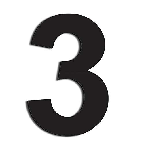 nanly Moderne Hausnummer aus Edelstahl,in Anthrazit RAL 7016,Ziffern & Buchstaben,Höhe:20.5cm/8 Zoll (Ziffer 3)