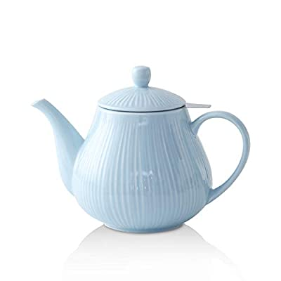 KOOV Ceramic Tea Pot with Stainless Steel Infuser, 40 ounce Large Enough For 6 Cups, Striped Series (Sky)