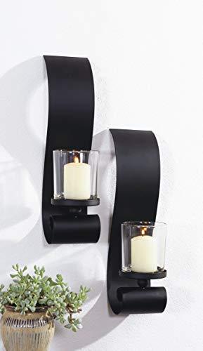 Benelando Wandkerzenhalter mit Windlichtern aus Glas (2)