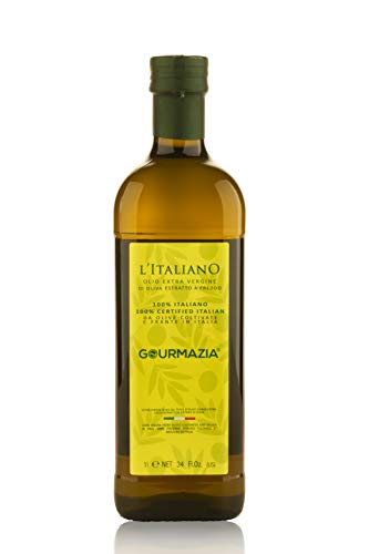 Gourmazia Pure Italian Extra Virgin Olive Oil, First Cold Pressed, Organic Olive Oil Extra Virgin, Perfect for Marinades, Vinaigrette, & Cooking, Anti Drip Bottle, 34 Fl Oz