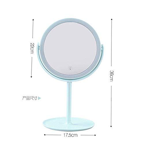 Detazhi Miroir LED Miroir de Maquillage, avec Ronde écran Tactile Lumière Naturelle Forme de Bureau Miroir Lumineux réglable, for Bureau Dorm Voyage