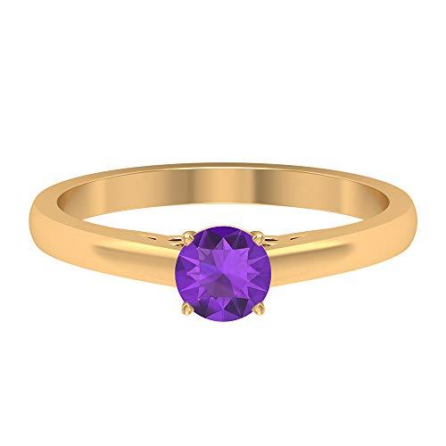 Anillo de compromiso clásico, 1/2 CT redondo en forma de amatista de 5 mm, vintage grabado anillo de boda, anillo de solitario declaración, 18K Oro amarillo, Size:EU 70