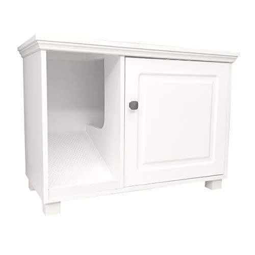 Roomfitters Cat Washroom Storage Bench Cat Litter Box Enclosure Furniture, White