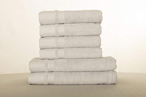 Juego de toallas de baño, toallas de mano, toallas de baño, 600 g/m², algodón suave, Pewter Grey, Set of 6 (4 hand 2 bath towels)