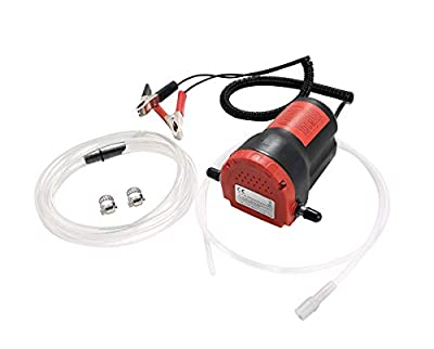 DASBET 12V 60W Oil Change Pump Extractor, Oil/Diesel Fluid Pump Extractor Scavenge Oil Change Pump Transfer Suction Red Case