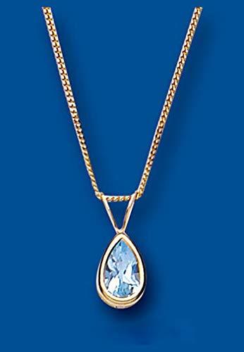 London Jewellery Quarter Topacio Azul Collar Oro Amarillo Pera Solitario 18' Cadena Contraste Británico