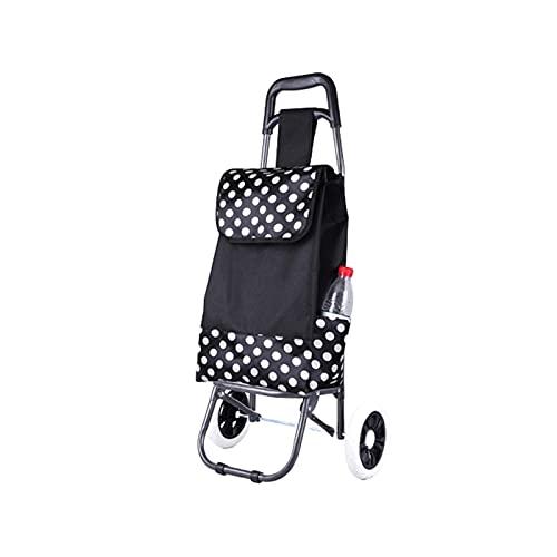 Carrito de Compras Plegable con Ruedas Stair Escalada Carro Carro del Equipaje del Carro para la Colcha Libro de lavandería Viaje de Equipaje (Color : Black)