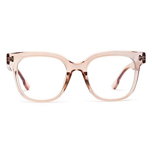 KOOSUFA Brillen mit Blaulichtfilter Anti Blaulicht Brille Ohne Sehstärke Damen Herren Computer Gaming Brillen Anti Müdigkeit Mode Brillengestelle mit Brillenetui (Durchsichtig Braun)
