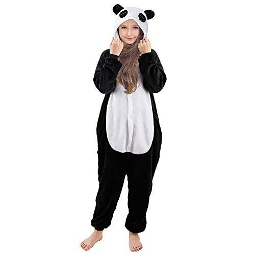Beinou Einhorn Strampler Pyjamas Flanell Cartoon Kostüm Jumpsuit Nachtwäsche Kinder Schlafanzug Unisex Nachtwäsche Fasching Cosplay Karneval,White & Black Panda, 130/ Height 48-52