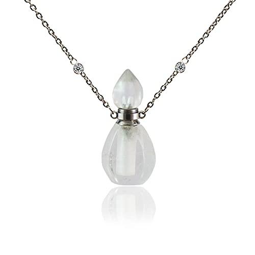 Cremación Colgante Colgante de Cristal de urna para Mujer Asof Urna Collar de Cuarzo Transparente Collar de Aceite Esencial con película Botella de Perfume Joyería de Recuerdo 1 Uds