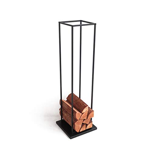 Indoor-Helden Minimalistischer Design-Kaminholzständer aus Mattschwarz lackiertem Metall Höhe 118 cm Kaminholzregal Feuerholzständer Kaminholzablage