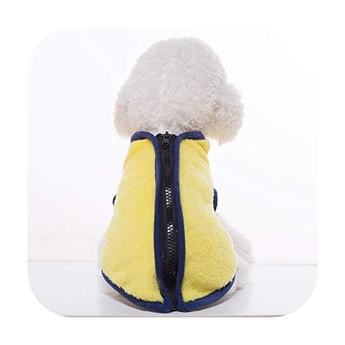 Abrigo de invierno para perro, abrigo de cachorro, chaqueta de traje de ropa para perros pequeños, gatos, abrigo con capucha Yellow-L