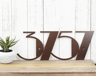 Rea66de Hausnummernschild für den Außenbereich, Kupfer, Art Deco, Moderne Hausnummern