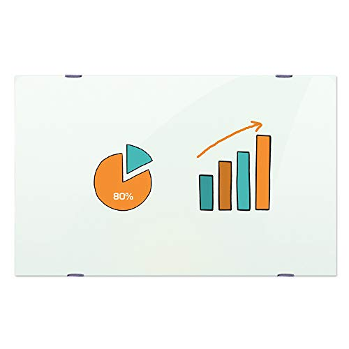 VIZ-PRO Magnetic Glass Whiteboard/Dry Erase Board, 36 X 24 Inches, Frameless