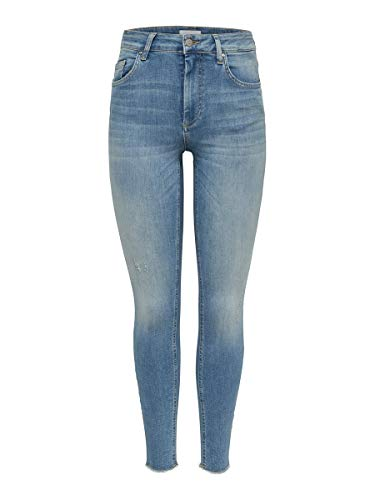 ONLY Damen Onlblush Mid Ank Raw Rea1467 Noos Skinny Jeans, Blau (Light Blue Denim), 40W 32L EU