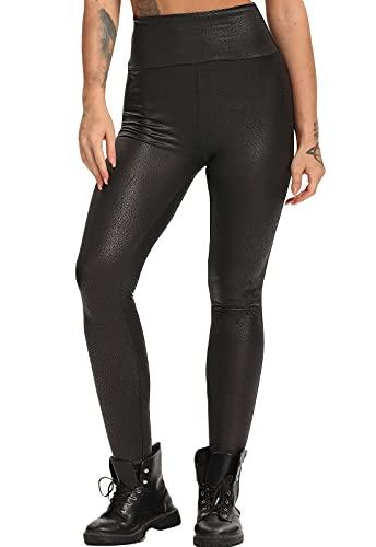 FITTOO Mujeres PU Leggins Cuero Brillante Pantalón Elásticos Pantalones para Mujer300#2 Negro Serpiente M