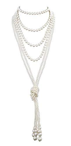 Cizoe 1920s Pearls Necklace Fashion Faux Pearls Gatsby Accessories Vintage Costume Jewelry Cream Long Necklace for Women(11B-knot Pearl Necklace2 + 59' Necklace1-white)