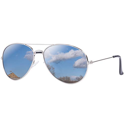 Silver Mirror Lens, Metal Frame Aviator Sunglasses, Free Drawstring Pouch