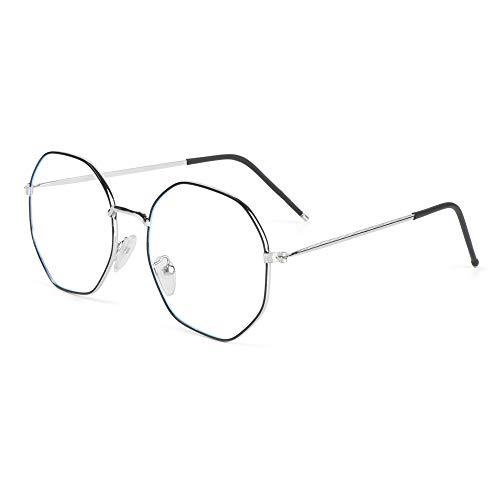Fashyner Women Men Polygon Vintage Computer Ultra Light Frame Anti-Blue Light Eyeglasses Eye Protection Metal Glasses (Black)