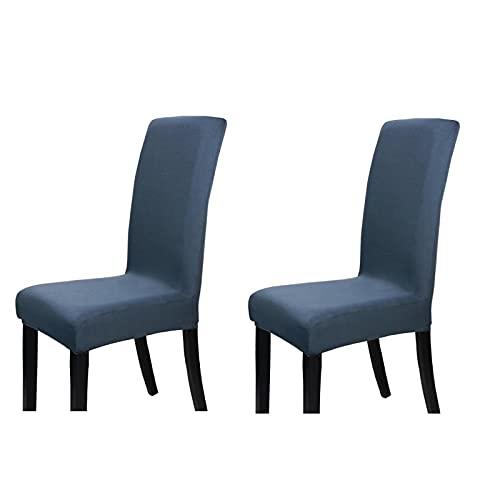 Stuhlbezug, Stretch-Stuhlbezug, Elastischer Moderner Bezug, Spandex, Stretchbezug, Stuhlbezug, Stuhlbezug, Bi-Elastischer Stretchbezug, Sehr Pflegeleicht Und Langlebig, Universell 2-Teilig, Dunkelgrau,Light blue