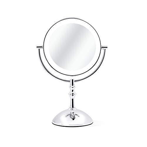 Miroir de maquillage de bureau, miroir à double face à 360 ° 1X / 3X grossissant les piles à intensité réglable ou charge USB pour salle de bain et coiffeuse