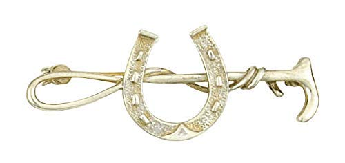 J R Jewellery Equitación Cultivo Herradura Broche Plata Maciza de Ley Hecho a Mano A Orden Contraste