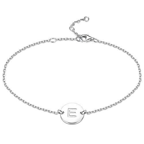 sailimue 925 Sterling Silber Initial Armbänder für Damen Mädchen Buchstaben ArmKette Dünne Zartes Schlichte Armbänder 16,5 + 5 cm Einstellbar