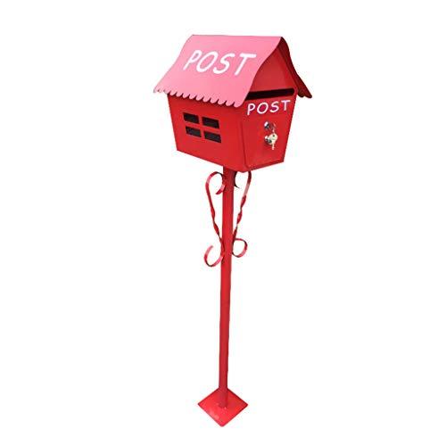 WangJUNXIU brievenbus voor buiten, vrijstaand, met kijkvenster Oro rosa + oro rosa