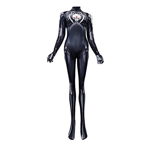 Nuitab Disfraz de Cosplay de Viuda Negra para Mujer, Traje de Actuación de Día de Superhéroe, Mono de Lycra de Escenario, Vestido de Fantasía de Lycra de X'Mas,Black-Adult S (140~155cm)