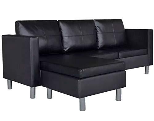 JUMPER Moderne Sectionele Bank Moderne L Gevormde Hoek Sofa Lounge 3 Zitplaatsen Slaapbank Synthetisch Leer Chaise Bank