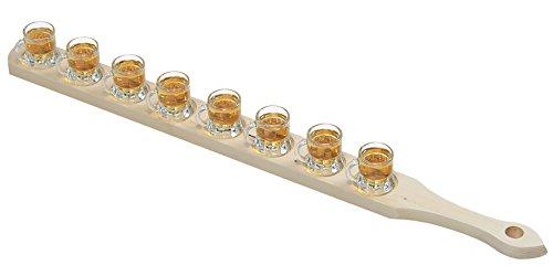 Kesper Schnapsglasträger, Schnapsglaslatte, aus FSC Kiefer, mit 8 Gläsern, Maße: ca. 720 x 60 x 65 mm