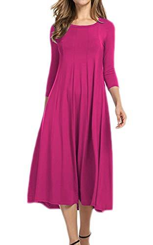 DELEY dames lange t-shirt jurk losse casual geplooid katoen midi-jurken halve mouw