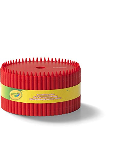 Crayola Round Storage Box - Creative Kids Art Storage Container With Lid For Storing Pens, Pencils, Crayons And Other Craft Supplies, Red, Kids 3+ Years