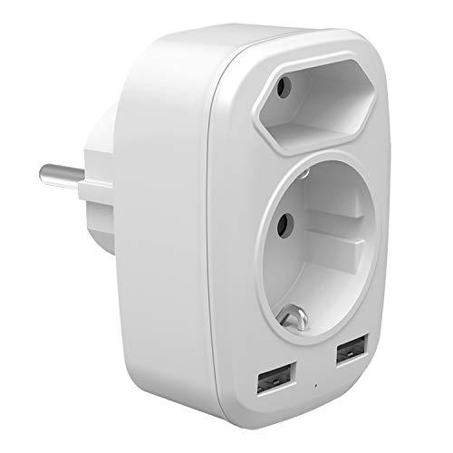 Steckdosenadapter, USB Steckdose 4 in 1 Mehrfachstecker für Steckdose (4000W) mit Eurostecker Adapter + Schuko und 2 USB Anschluss (2.4A) für Hause, Reise, Büro, Weiß