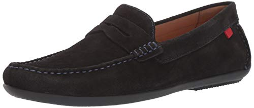 MARC JOSEPH NEW YORK Men's Leather Union Street Driver Driving Style Loafer, Black Suede/Blue Stitch, 11 D(M) US